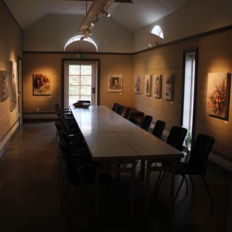 Målningar tryck på Ljudabsorbenter i konferensmiljö